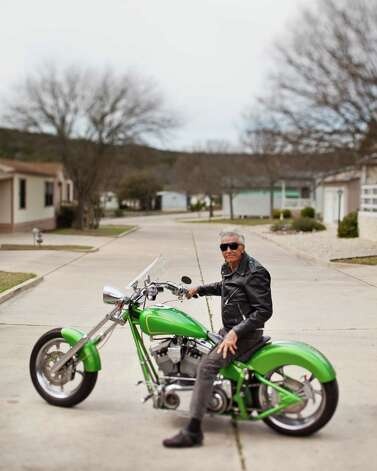 "Lee (Skeeter) Stath astride a Desperado in Kerrville in 2012. From Strath: ""I, personally, see very little difference in the two photos except the advancement in motorcycle design. Amazing the progress of 64 years."" Photo: Photographer: Darin Basile, COURTESY / Copyright: Darin Basile www.daflye.net"