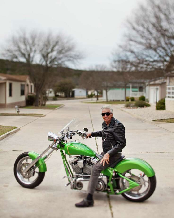"""Lee (Skeeter) Stath astride a Desperado in Kerrville in 2012. From Strath: """"I, personally, see very little difference in the two photos except the advancement in motorcycle design. Amazing the progress of 64 years."""" Photo: Photographer: Darin Basile, COURTESY / Copyright: Darin Basile www.daflye.net"""