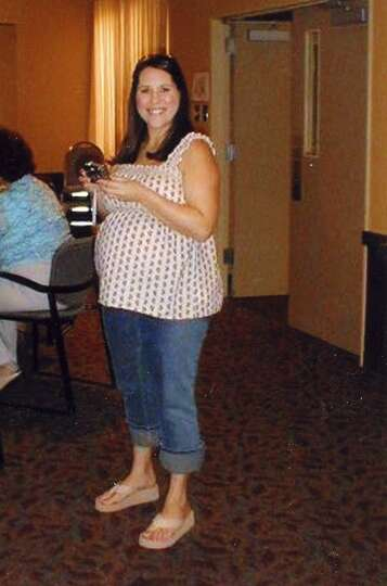 Rachel L. (Dias) Jackson, nearly nine months pregnant with her first child, Joshua.
