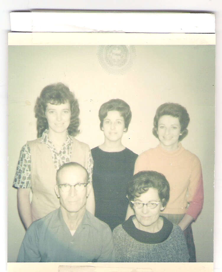 Then: Back row: Barbara (Warren) Story (left), Louise (Warren Timmins), Sandra (Warren) Mitchel; Front row, Parents Louis & Alma Warren in 1964. Photo: COURTESY