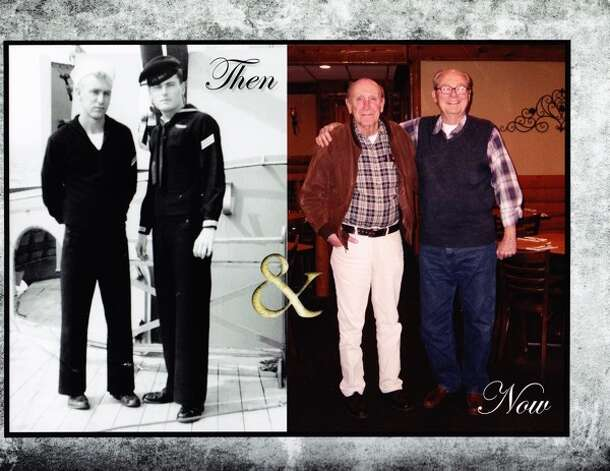 "Photo on left: Don Smith from Winona, Minn., and Ernie Dalton from San Antonio aboard the USS New Jersey, Norfolk, Va., November 1955. From Dalton: ""We were 20 years old and Members of ""C"" Division.(Communications)."" Photo on Right: Smith and Dalton in the Long Branch Saloon, Farmington, Minn., November 2011. From Dalton: ""Still friends after 56 years."" Photo: COURTESY"