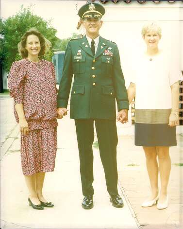Larry Stephens poses with his daughters Ashley Stephens Brodine and Elizabeth Stephens Daniel the Fort Sam Houston Officer's Club in 1998. Photo: COURTESY