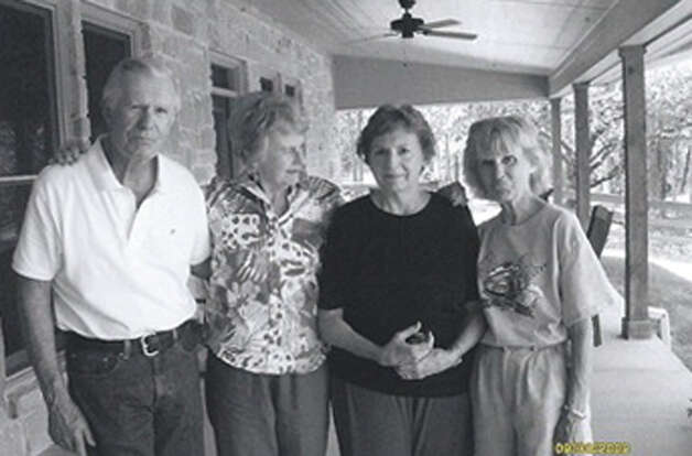 Cousins Yale Smith (from left), Yalene Smith, Bernice Bergman, Betty Eckerman during a reunion on porch at Yale Smith's ranch in LaGrange in 2012. Photo: COURTESY