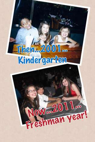 Top photo, left to right, Ramiro Muniz, Rachel Anaya and Mia Carranza celebrate their kindergarten graduation in 2001 . Bottom photo, left to right, Mia Carranza, Ramiro Muniz, Rachel Anaya at a friend's quinceanera during their freshman year of high school in 2011. Photo: COURTESY