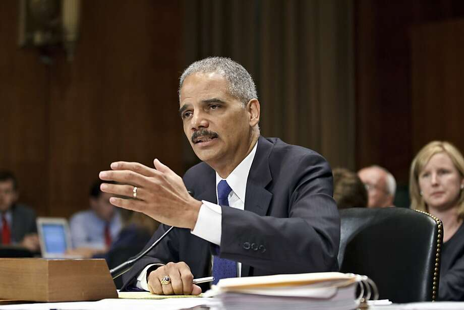 "Attorney General Eric Holder appears before the Senate Judiciary Committee on Capitol Hill in Washington, Tuesday, June 12, 2012. Holder is facing a contempt of Congress vote next week by the House Oversight Committee where he is accused of misleading the panel's investigation of the controversial ""Operation Fast and Furious"" gunrunning program.  (AP Photo/J. Scott Applewhite) Photo: J. Scott Applewhite, Associated Press"
