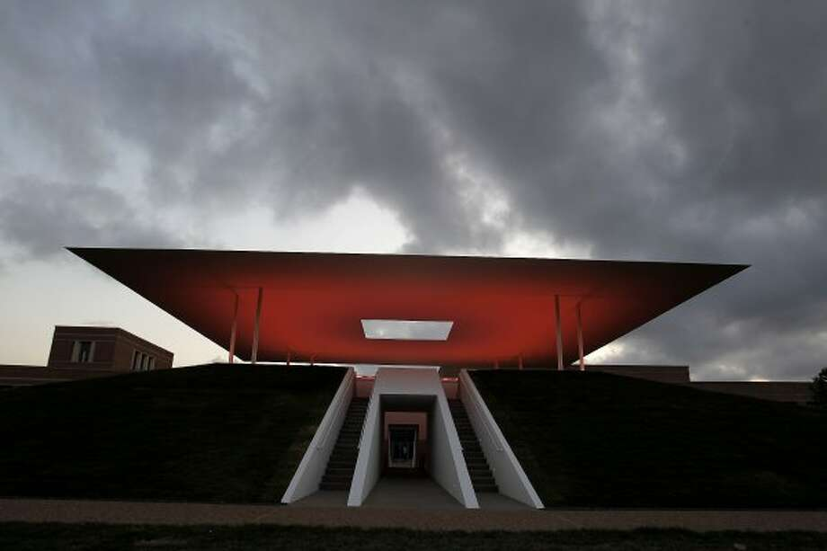 Watch the sunset from the floor of the new Skyspace by James Turrell at Rice. (Karen Warren / Houston Chronicle)