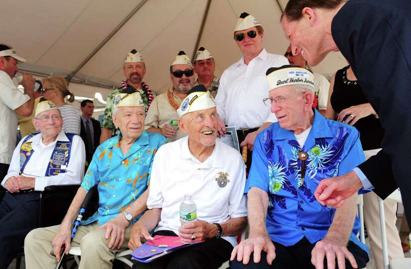 Navy veterans William Lehr, 91, of Hamden, Thomas Nerkowski, 91, of Branford, Jack Stoeber, 96, of M