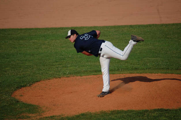 Westport starting pitcher Chris Speer struck out 11 in five innings Thursday in a 2-1 win over Darien. Photo: Robert Chasin / Contributed Phot