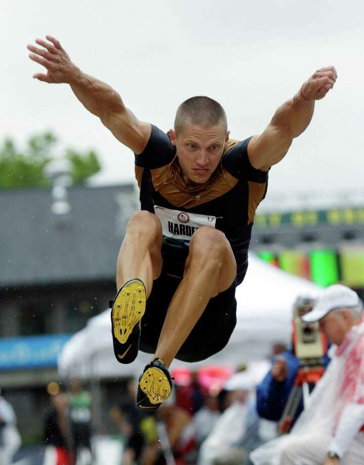 Trey Hardee competes in the long jump during the decathlon competition at the U.S. Olympic Track and Field Trials Friday, June 22, 2012, in Eugene, Ore. Photo: AP