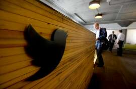 The reception desk at Twitter's office at 1355 Market St. in San Francisco.