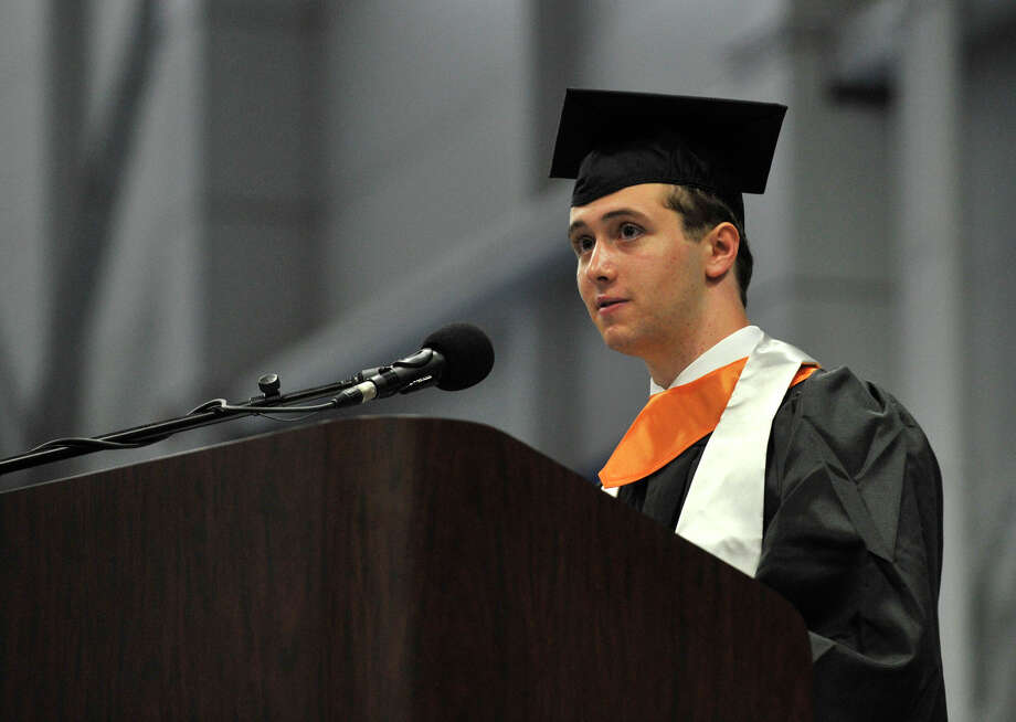 Class President Jesse Baer speaks during the Ridgefield High School graduation at the O'Neill Center at Western Connecticut State University's westside campus on Friday, June 22, 2012. Photo: Jason Rearick / The News-Times