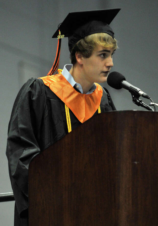 William Arnold speaks during the Ridgefield High School graduation at the O'Neill Center at Western Connecticut State University's westside campus on Friday, June 22, 2012. Arnold was invited to speak from the Class of 2012. Photo: Jason Rearick / The News-Times