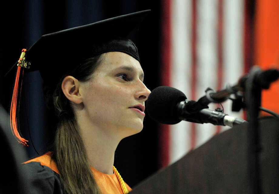 Valedictorian Sydney Scott speaks during the Ridgefield High School graduation at the O'Neill Center at Western Connecticut State University's westside campus on Friday, June 22, 2012. Photo: Jason Rearick / The News-Times