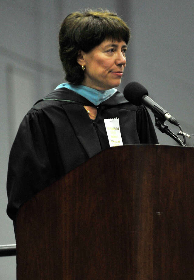 Superintendent of Ridgefield Schools Deborah Low speaks during the Ridgefield High School graduation at the O'Neill Center at Western Connecticut State University's westside campus on Friday, June 22, 2012. Photo: Jason Rearick / The News-Times