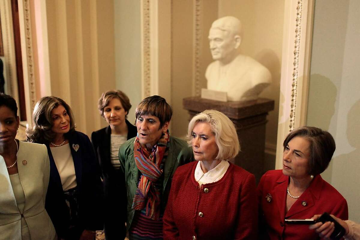 WASHINGTON, DC - JUNE 05: Lily Ledbetter (2nd R) is joined by (L-R) Rep. Donna Edwards (D-MD), Rep. Selley Berkley (D-NV), Rep. Suzanne Bonamici (D-OR), Rep. Rosa DeLaruro (D-CT) and Rep. Jan Schakowski (D-IL) hold a quick press availability before the Senate makes a proceedural vote on an equal pay bill at the U.S. Captiol June 5, 2012 in Washington, DC. Despite strong support from President Barack Obama, the bill that calls for equal pay in the workplace was blocked by Senate Republicans. Ledbetter, a supervisor at Goodyear Tire and Rubber's plant in Gadsden, Alabama, from 1979 until her retirement in 1998, sued the company for paying her significantly less than her male counterparts. She lost her case, which went to the Supreme Court, but inspired the Lilly Ledbetter Fair Pay Act of 2009. (Photo by Chip Somodevilla/Getty Images)