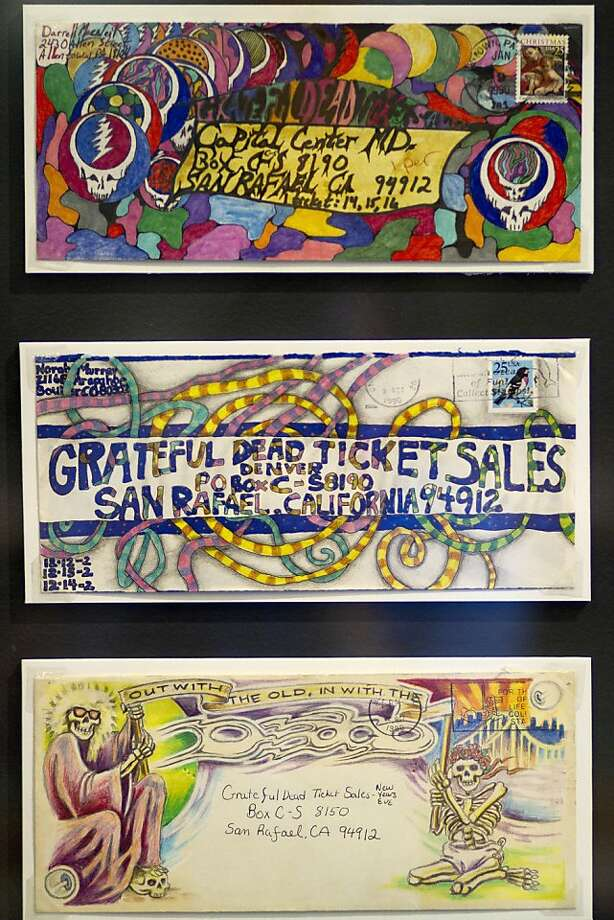 Fan art on envelopes was encouraged by the Grateful Dead with promises of free tickets for the best artwork. The Grateful Dead Archive has opened to the public on the University of California Santa Cruz's McHenry Library this week. Photo: Sean Culligan, The Chronicle
