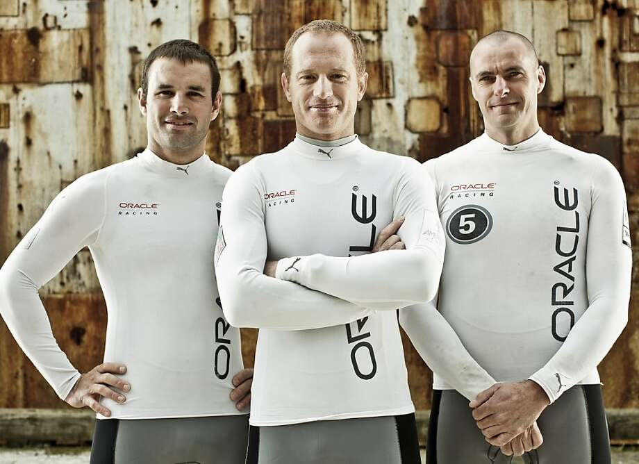 Oracle Racing Team members, Joe Newton (trimmer), James Spithill (skipper), and Piet Van Nieuwenhuijzen (bowman) are seen on Tuesday, March 20, 2012 in San Francisco, Calif. Photo: Russell Yip, The Chronicle