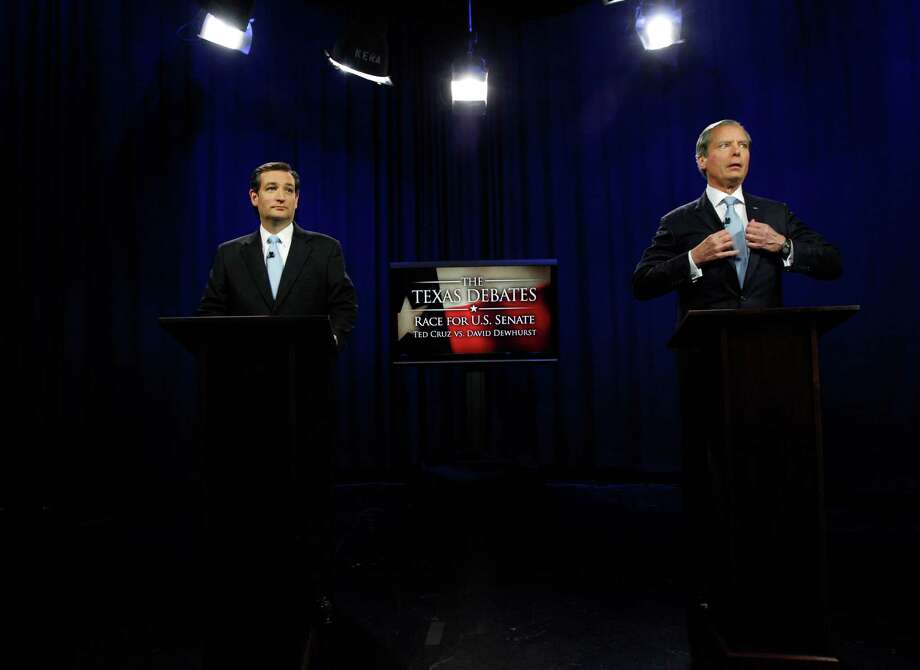 U.S. Senate Candidates Ted Cruz, left, and Texas Lt. Gov. David Dewhurst take their places before their televised debate in Dallas, Texas,  Friday, June 22, 2012.  Cruz and Dewhurst are locked in a runoff fight for the Republican nomination to fill Texas' open U.S. Senate seat. ( AP Photo/LM Otero, Pool) Photo: LM Otero / AP
