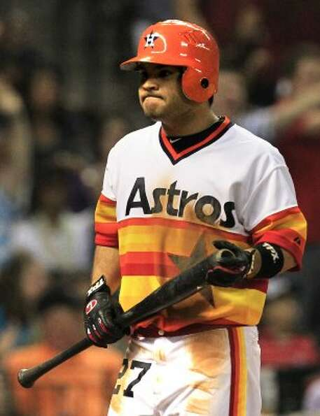 Jose Altuve reacts after striking out against the Indians. (Cody Duty / Houston Chronicle)