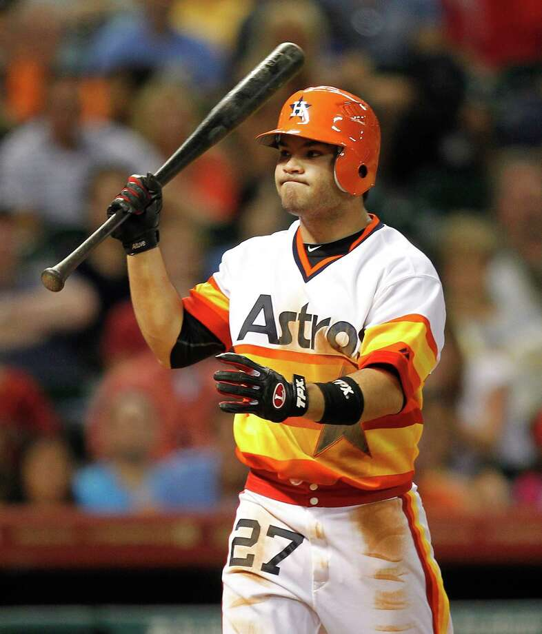 Jose Altuve had plenty about which to be frustrated on Friday night, as the Astros' throwback uniforms didn't bring them any luck, nor him any hits. Photo: Bob Levey / 2012 Getty Images