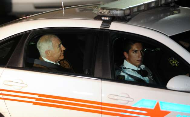 Jerry Sandusky leaves the Centre County Courthouse Friday, June 22, 2012, after being found guilty in his sexual abuse trial, at the Centre County Courthouse, in Bellefonte, Pa. Sandusky was convicted of sexually assaulting 10 boys over 15 years, accusations that had sent shock waves through the college campus known as Happy Valley and led to the firing of Penn State's beloved Hall of Fame coach, Joe Paterno. (AP Photo/Centre Daily Times, Nabil K. Mark) MANDATORY CREDIT; MAGS OUT; ALTOONA MIRROR OUT; LOCK HAVEN EXPRESS OUT; CLEARFIELD PROGRESS OUT; HARRISBURG PATRIOT NEWS OUT; CENTRE COUNTY GAZETTE OUT; STATECOLLEGE.COM OUT Photo: Nabil K. Mark