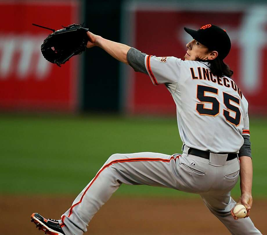 Tim Lincecum of the San Francisco Giants throws from the mound against the Oakland Athletics during their MLB Baseball Game on Friday June 22, 2012 at the Oakland Coliseum, in Oakland California. Photo: Lance Iversen, The Chronicle