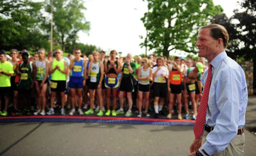 Sen. Richard Blumenthal kicks off the 32nd Stratton Faxon 5K Saturday, June 23, 2012 at Jennings Bea