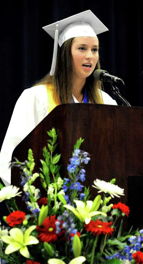 Erica MacSwan gives the Valedictorian Address during the New Fairfield High School graduation at Western Connecticut State University's O'Neill Center in Danbury Saturday, June 23, 2012. Photo: Michael Duffy / The News-Times
