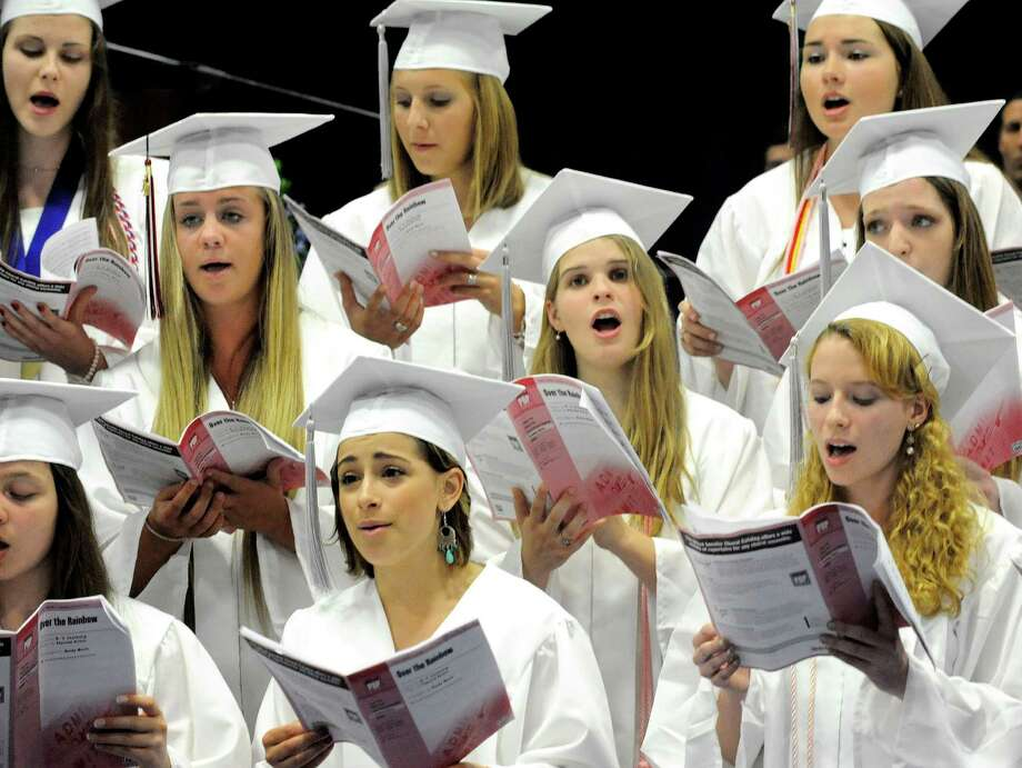 "Seniors of the Chior perform ""Over the Rainbow"" during the New Fairfield High School graduation at Western Connecticut State University's O'Neill Center in Danbury Saturday, June 23, 2012. Photo: Michael Duffy / The News-Times"