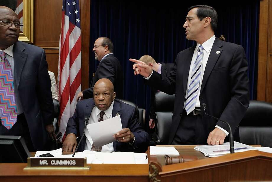 WASHINGTON, DC - JUNE 20:  House Oversight and Government Reform Chairman Darrell Issa (R-CA) (R), ranking member U.S. Rep. Elijah Cummings (D-MD) (C) and U.S. Rep. Edolphus Towns (D-NY) (L) stand after a five-hour mark up hearing on Capitol Hill June 20, 2012 in Washington, DC. Issa and the committee Republicans voted to hold U.S. Attorney General Eric Holder in contempt of Congress for refusing to hand over documents the GOP says are key to their investigation into the failed Fast and Furious operation. Before the start of the hearing, the White House asserted the documents are protected by executive privilidge.  (Photo by Chip Somodevilla/Getty Images) Photo: Chip Somodevilla, Getty Images