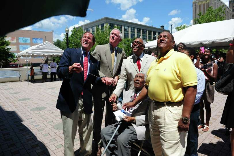 Sen. Richard Blumenthal, Mayor Bill Finch, Robert Morton, James Morton and the Rev. James Morton III