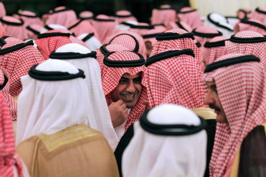 In this file photo, Saudi tribal chiefs crowd into a tent outside the royal palace in Riyadh, Saudi Arabia. Photo: Hassan Ammar, Associated Press / AP