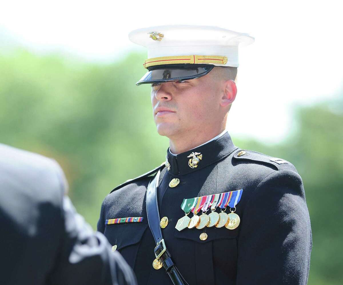 Marine Corps Capt. Ted Hubbard, of Greenwich, leader of the Marine Corps Silent Drill Platoon, during the Salute to Veterans ceremony at Havemeyer Field in Greenwich, Saturday afternoon, June 23, 2012.