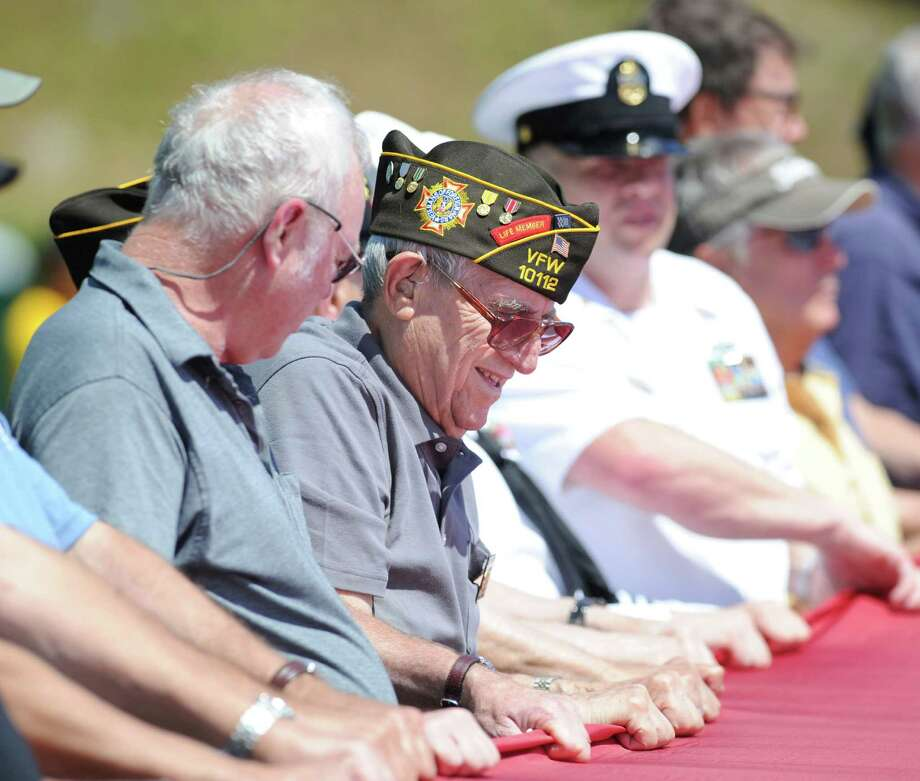 Cos Cob resident Joe Gregory, a U.S. Navy veteran of World War II, during the Salute to Veterans ceremony at Havemeyer Field in Greenwich, Saturday afternoon, June 23, 2012. Photo: Bob Luckey / Greenwich Time