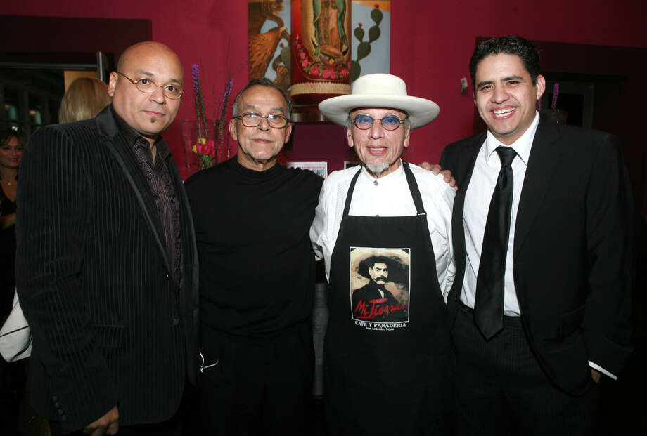 "Gabriel Velasquez (Friend), Jesse Trevino (Artist), George Cortez and Ricardo Mendoza (Friends) were at the VIP reception for the ""Mi Vida"" exhibit on 10/21/2009 at the Museo Alameda. Leland A. Outz/For the Express-News Photo: LELAND A. OUTZ, Express-News / SAN ANTONIO EXPRESS-NEWS"