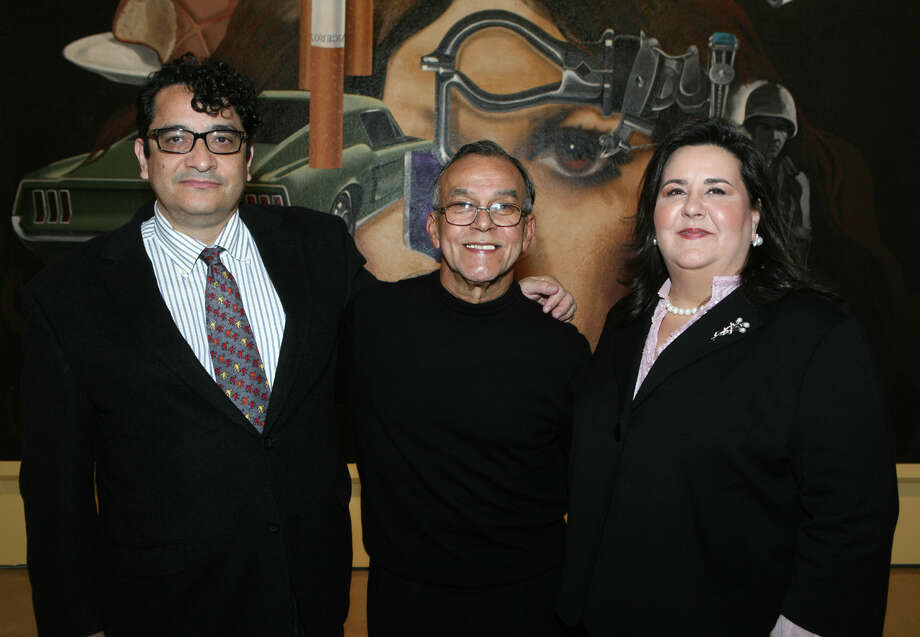 "Ruben Cordova Phd (Curator), Jesse Trevino (Artist) and Margarita Flores (Museo Alameda Board Member) were at the ""Mi Vida"" VIP Exhibit and Reception on 10/21/2009 at the Museo Alameda. Leland A. Outz/For the Express-News Photo: LELAND A. OUTZ, Express-News / SAN ANTONIO EXPRESS-NEWS"