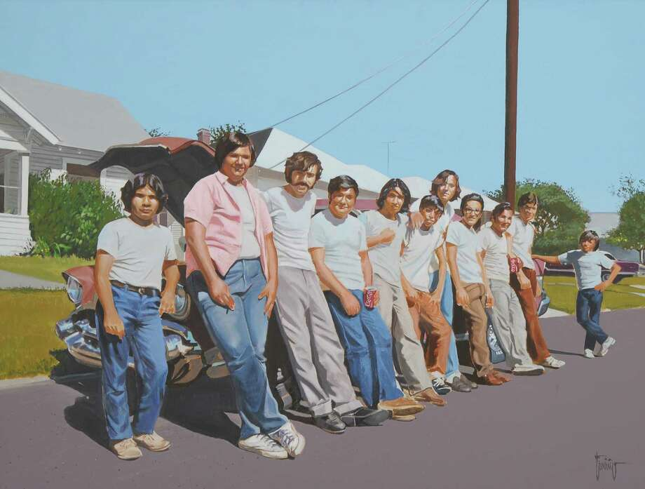 """Los Camaradas del Barrio,"" a 1976 painting by Jesse Trevino, is part of the artist's retrospective at the Museo Alameda. Photo: Express-News"
