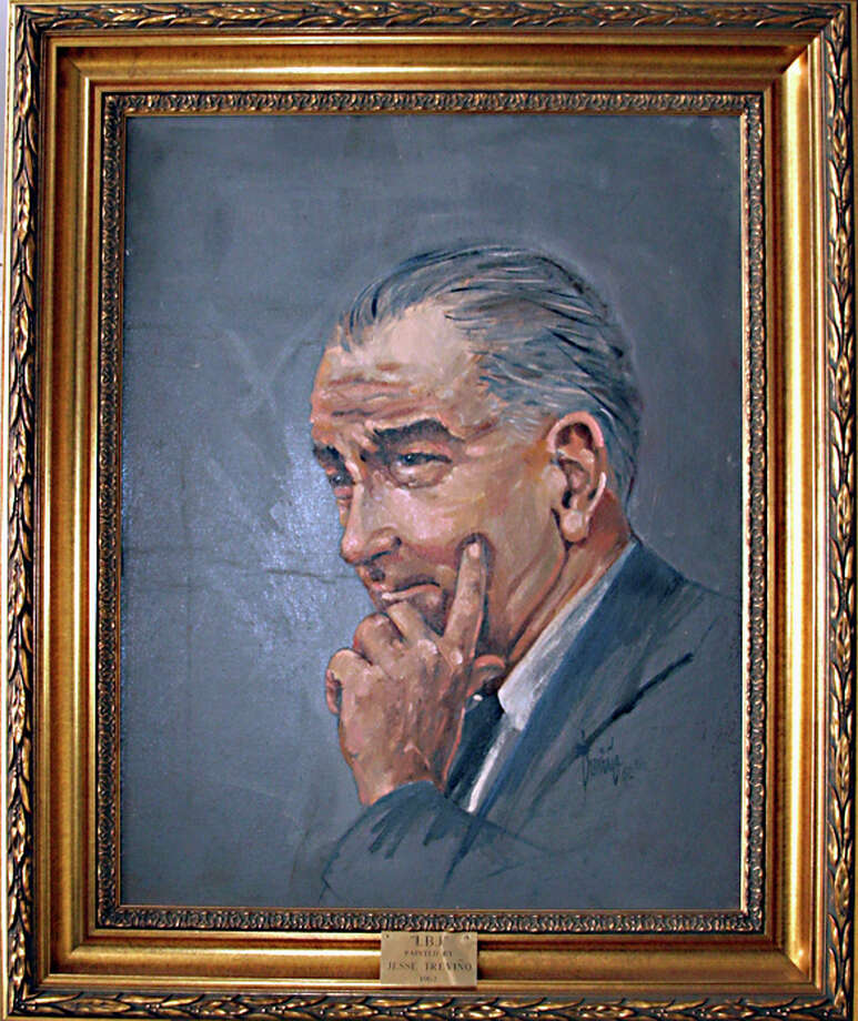 A portrait of Lyndon Johnson painted by noted S.A. artist Jesse Trevino when he was a high school student has been given to the LBJ Library in Austin by its owner, Dr. Alfonso Chiscano, a prominent San Antonio physician and arts patron. 80 lines. Courtesy photo of painting. Photo: Express-News