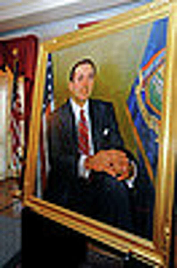 A portrait of former New York governor Mario Cuomo hangs at the Capitol. (Photo provided by governor's office)