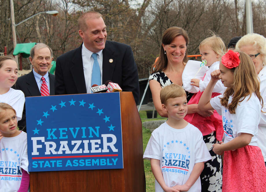 Kevin Frazier (D) announced his candidacy to fill Assemblyman Bob Reilly's seat in the 1010th Assembly District ,Friday morning during an announcement in Menands N.Y., March 23, 2012. Bob Reilly, pictured left, recently announced that he won't seek re-election. (Courtesy Kevin Frazier)