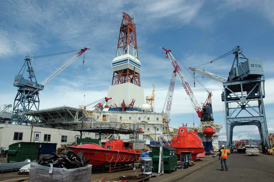 The Kulluk conical drilling rig is docked in the Vigor shipyard in Seattle, where it has undergone refurbishments meant to ready the 1980s-era conical drilling rig for Arctic drilling this summer. (Jennifer A. Dlouhy / The Houston Chronicle) Photo: Jennifer A. Dlouhy