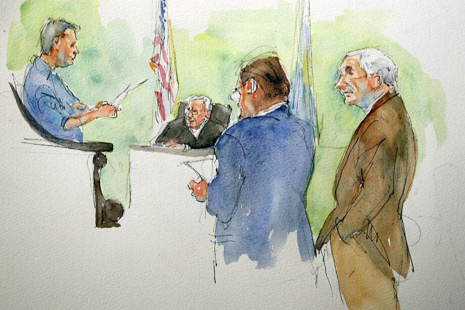 In this sketch, Judge John Cleland, seated, defendant Jerry Sandusky, right, and defense attorney Karl Rominger listen as the jury foreman reads the verdict. Photo: Aggie Kenny /  ap