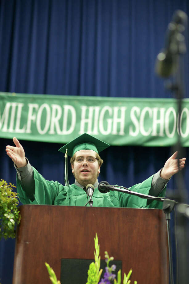 Ending the exercise on a high note Mr. Dustin Martin, Senior Class President, gives a speech full of laughs and great memories.  His closing remarks ended with the turning of the tassels at the closing of the New Milford High School Class of 2012 exercises which took place on Saturday, June 23, 2012 , at The O'Neill Center at WCSU in Danbury, CT. Photo: News Times Contributed