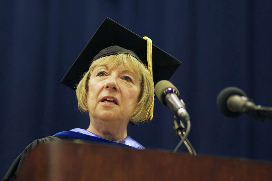 "Superintendent, Dr. JeanAnn Paddyfote, at the ""Presentation of the Class of 2012"" during the New Milford High School Class of 2012 exercises which took place on Saturday, June 23, 2012 , at The O'Neill Center at WCSU in Danbury, CT. Photo: News Times Contributed"