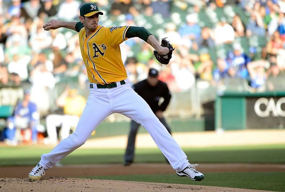 OAKLAND, CA - JUNE 19:  Brandon McCarthy #32 of the Oakland Athletics pitches against the Los Angeles Dodgers at O.co Coliseum on June 19, 2012 in Oakland, California.  (Photo by Thearon W. Henderson/Getty Images) Photo: Thearon W. Henderson, Getty Images