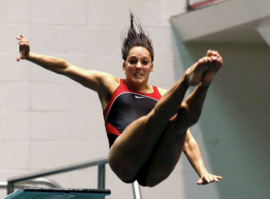 Christina Loukas, who trains in The Woodlands, finished second in the women's 3-meter springboard final to punch her second straight Olympic ticket. Photo: Elaine Thompson / AP