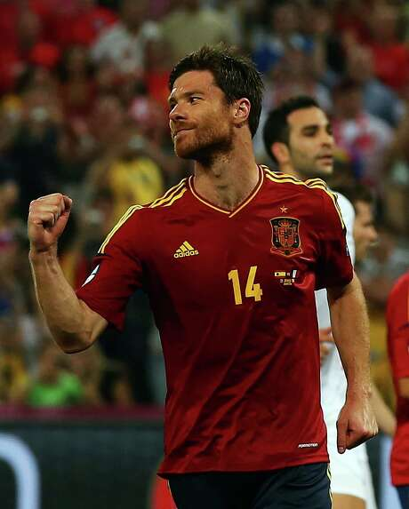 Xabi Alonso of Spain celebrates his second goal against France. Photo: Martin Rose / 2012 Getty Images