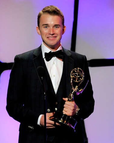 "Chandler Massey accepts the award for outstanding younger actor for ""Days of our Lives"" onstage at the 39th Annual Daytime Emmy Awards at the Beverly Hilton Hotel on Saturday, June 23, 2012 in Beverly Hills, Calif. Photo: CHRIS PIZZELLO/INVISION/AP"