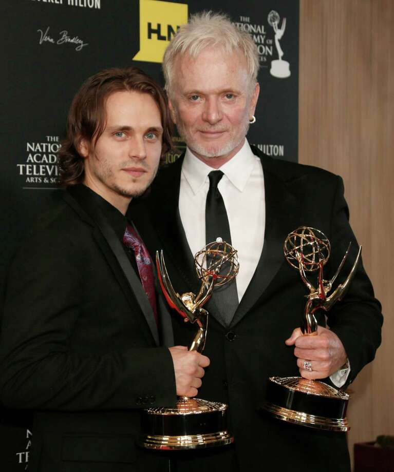 "Jonathan Jackson, left, winner of the award for supporting actor in a drama series for ""General Hospital,"" and Anthony Geary, winner of the award for lead actor in a drama series for ""General Hospital,"" pose backstage. Photo: TODD WILLIAMSON/INVISION/AP"