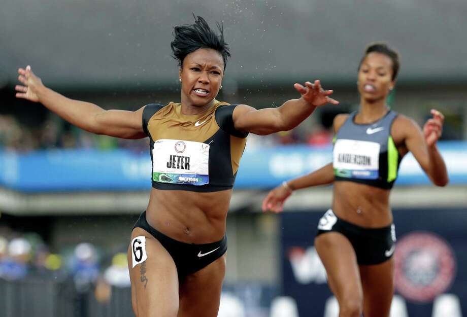 Carmelita Jeter reacts after winning the women's 100m final at the U.S. Olympic Track and Field Trials Saturday, June 23, 2012, in Eugene, Ore. (AP Photo/Eric Gay) Photo: Eric Gay / AP